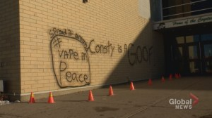 Calgary high school vandalized with graffiti targeting school resource officer